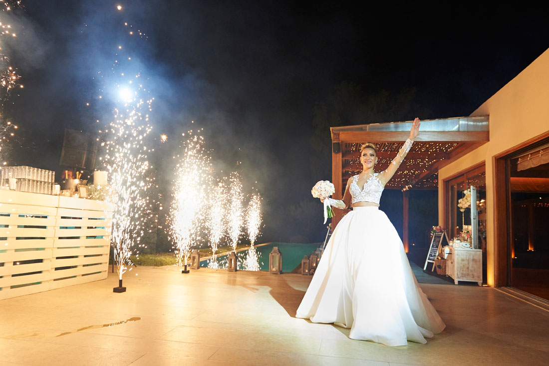 fireworks wedding in santorini